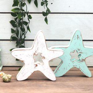 סט 2 כוכבי ים מעץ, עיצוב לחדר ילדים, דקורציה לחדר אמבטיה, עיצוב אירוע בנושא הים