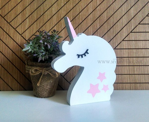 wooden unicorn decor
